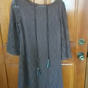 Lace belted shift dress